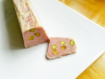 pancetta-wrapped pistachio and pork terrine