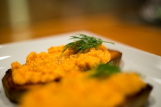 carrot tarator crostini