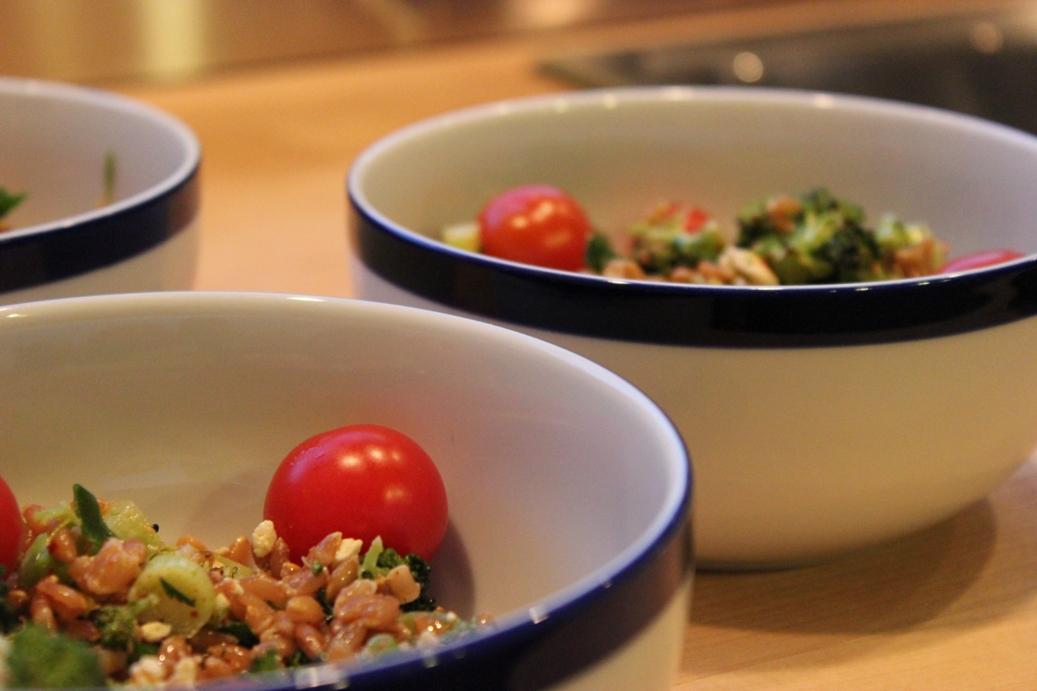 faro, red onion, toasted walnut salad