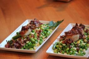 scallop, peas