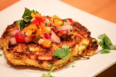 corn griddle cakes with salsa