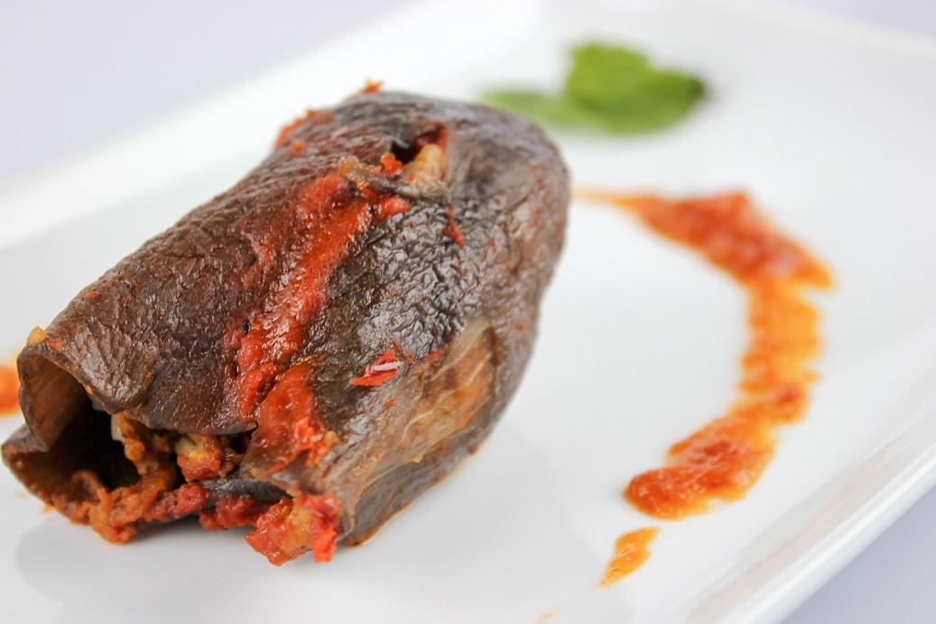 lamb stuffed dried eggplant