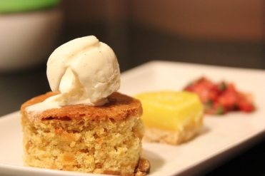 gluten free apricot bread, vanilla ice cream, olive oil lemon bar, strawberry salsa