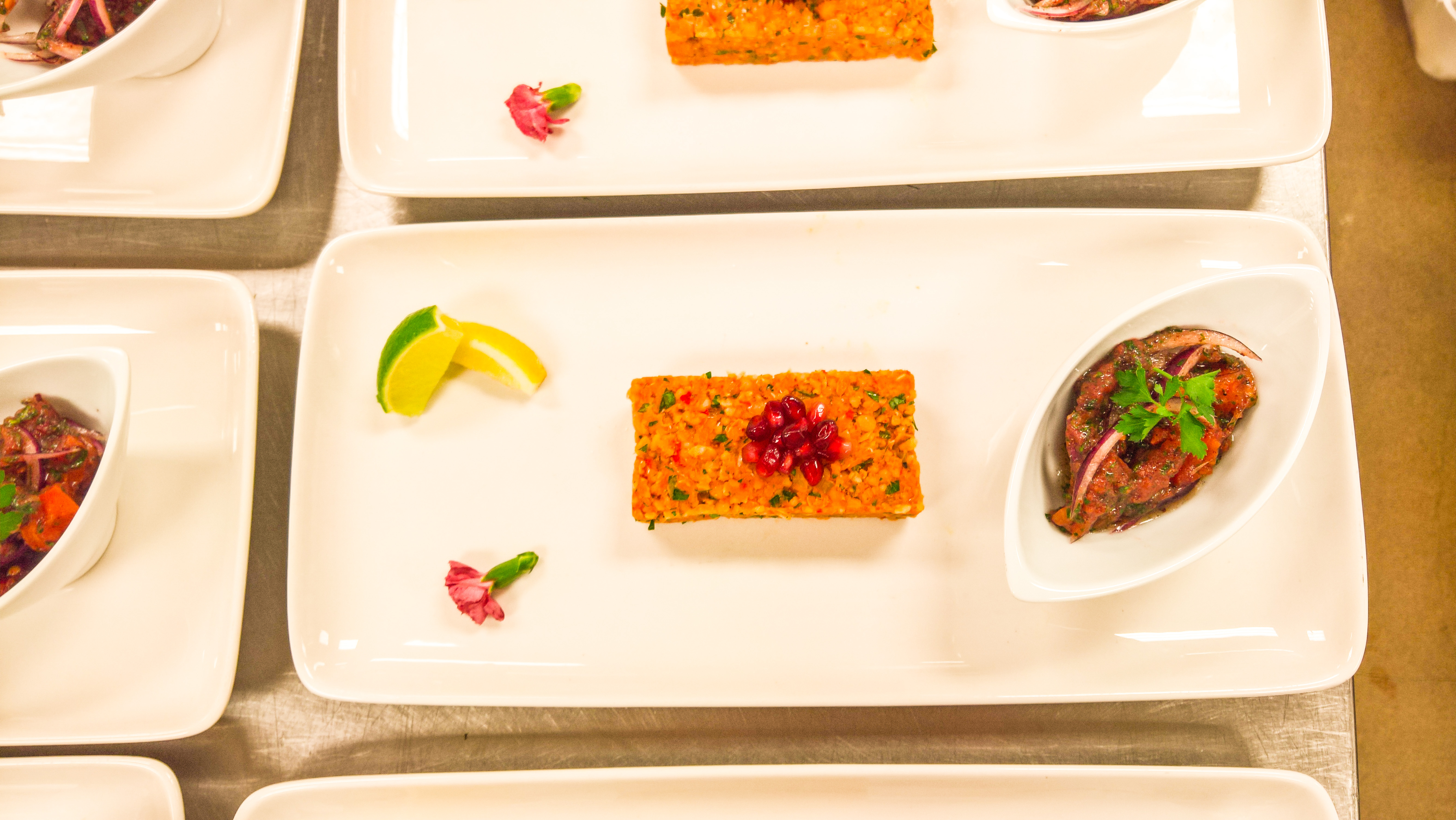 Lentil and Bulgur block, red onion sumac salad